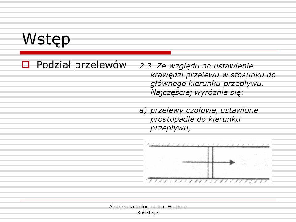 Akademia Rolnicza Im. Hugona Kołłątaja Wstęp Podział przelewów 2.3. Ze względu na ustawienie krawędzi przelewu w stosunku do głównego kierunku przepły