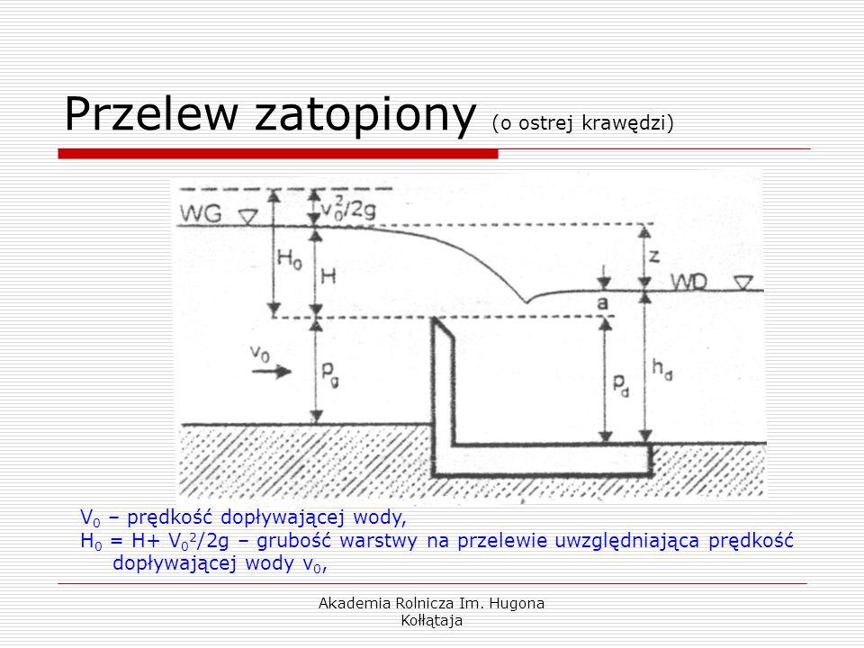 Akademia Rolnicza Im. Hugona Kołłątaja Przelew zatopiony (o ostrej krawędzi) V 0 – prędkość dopływającej wody, H 0 = H+ V 0 2 /2g – grubość warstwy na