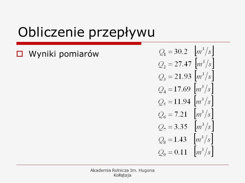 Akademia Rolnicza Im. Hugona Kołłątaja Wyniki pomiarów Obliczenie przepływu
