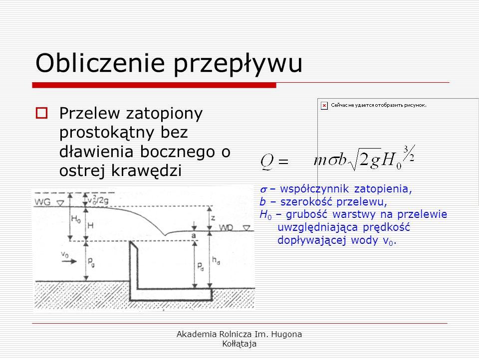 Akademia Rolnicza Im. Hugona Kołłątaja Przelew zatopiony prostokątny bez dławienia bocznego o ostrej krawędzi – współczynnik zatopienia, b – szerokość