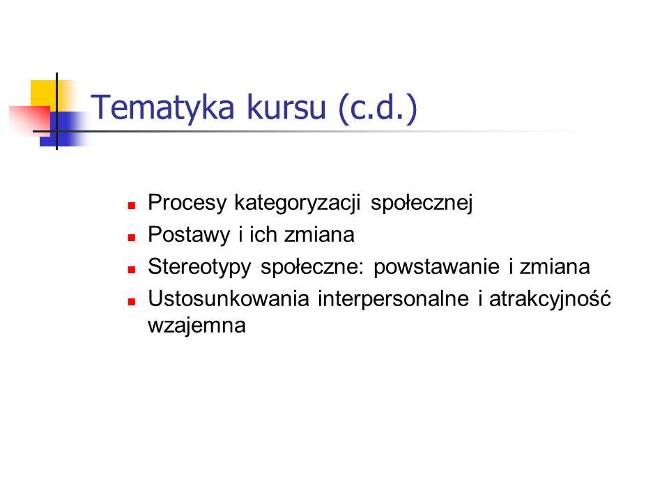 Warunki zaliczenia kursu Zdanie egzaminu pisemnego (test).
