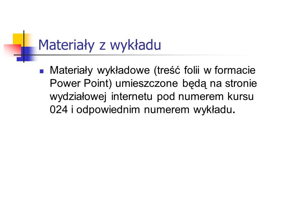 Materiały z wykładu Materiały wykładowe (treść folii w formacie Power Point) umieszczone będą na stronie wydziałowej internetu pod numerem kursu 024 i