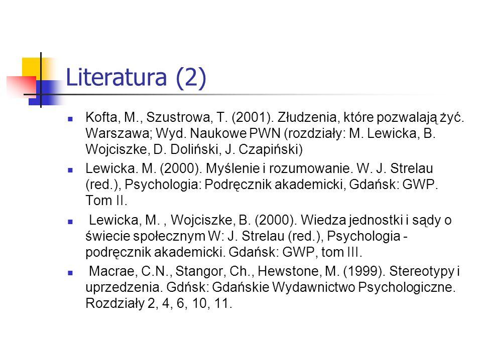 Literatura (2) Kofta, M., Szustrowa, T. (2001). Złudzenia, które pozwalają żyć. Warszawa; Wyd. Naukowe PWN (rozdziały: M. Lewicka, B. Wojciszke, D. Do