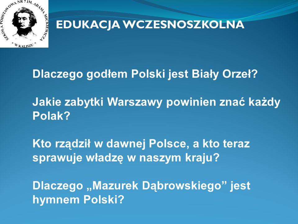 Dlaczego godłem Polski jest Biały Orzeł? Jakie zabytki Warszawy powinien znać każdy Polak? Kto rządził w dawnej Polsce, a kto teraz sprawuje władzę w