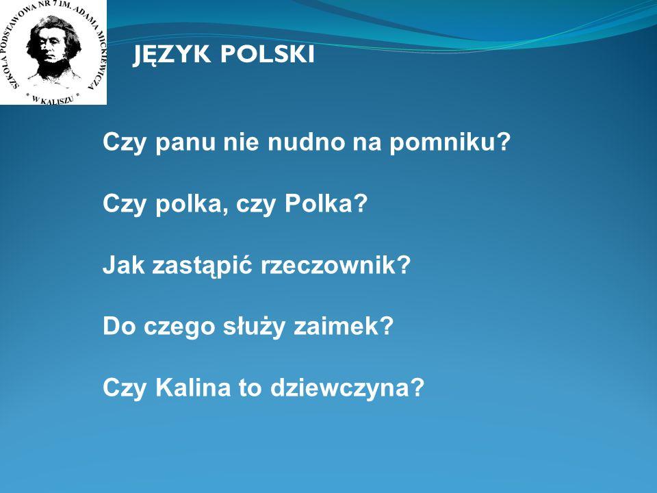 JĘZYK POLSKI Czy panu nie nudno na pomniku? Czy polka, czy Polka? Jak zastąpić rzeczownik? Do czego służy zaimek? Czy Kalina to dziewczyna?