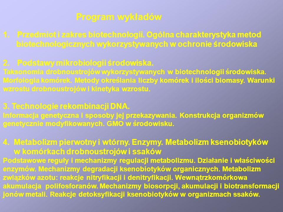 1.Przedmiot i zakres biotechnologii. Ogólna charakterystyka metod biotechnologicznych wykorzystywanych w ochronie środowiska 2.Podstawy mikrobiologii