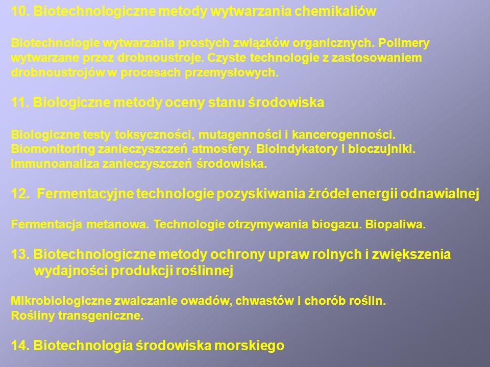 10. Biotechnologiczne metody wytwarzania chemikaliów Biotechnologie wytwarzania prostych związków organicznych. Polimery wytwarzane przez drobnoustroj