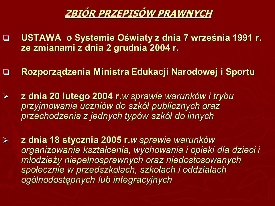 ZBIÓR PRZEPISÓW PRAWNYCH USTAWA o Systemie Oświaty z dnia 7 września 1991 r. ze zmianami z dnia 2 grudnia 2004 r. USTAWA o Systemie Oświaty z dnia 7 w
