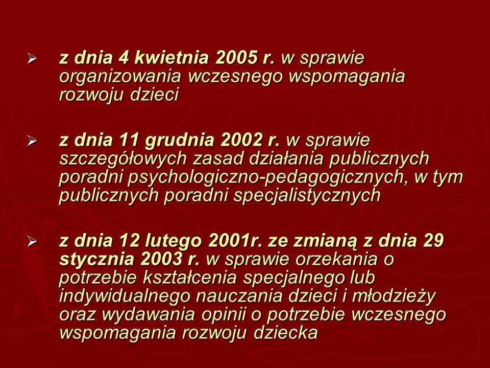 z dnia 4 kwietnia 2005 r. w sprawie organizowania wczesnego wspomagania rozwoju dzieci z dnia 4 kwietnia 2005 r. w sprawie organizowania wczesnego wsp