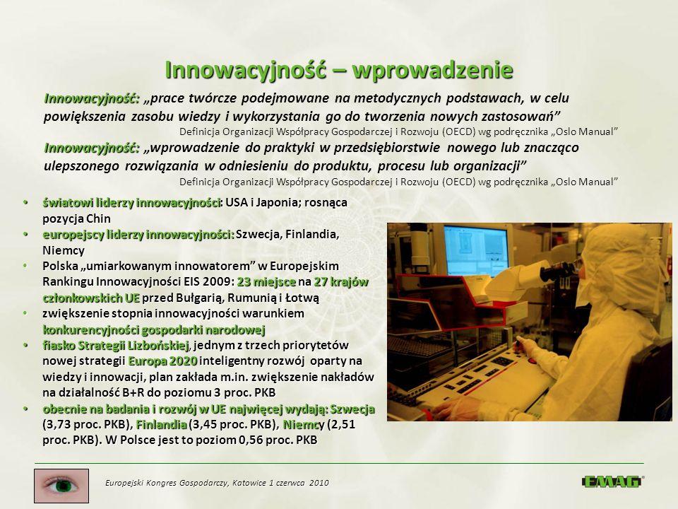 Europejski Kongres Gospodarczy, Katowice 1 czerwca 2010 Innowacyjność – wprowadzenie światowi liderzy innowacyjności: USA i Japonia; rosnąca pozycja C