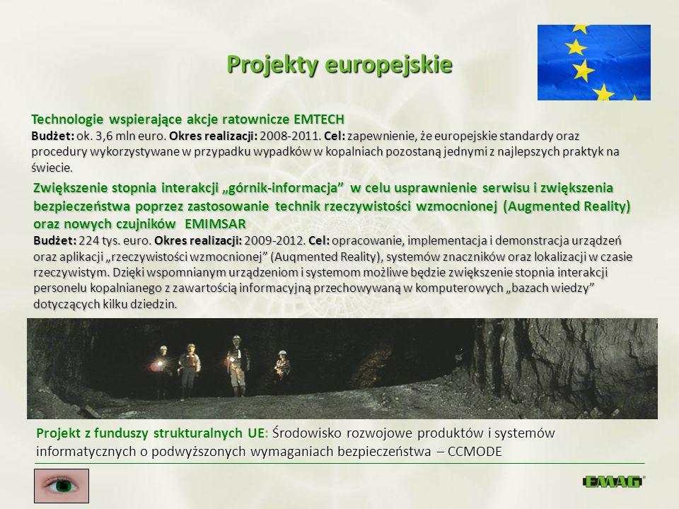 Projekty europejskie Technologie wspierające akcje ratownicze EMTECH Budżet: ok. 3,6 mln euro. Okres realizacji: 2008-2011. Cel: zapewnienie, że europ