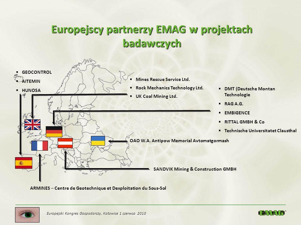 Europejski Kongres Gospodarczy, Katowice 1 czerwca 2010 Europejscy partnerzy EMAG w projektach badawczych Mines Rescue Service Ltd. Rock Mechanics Tec