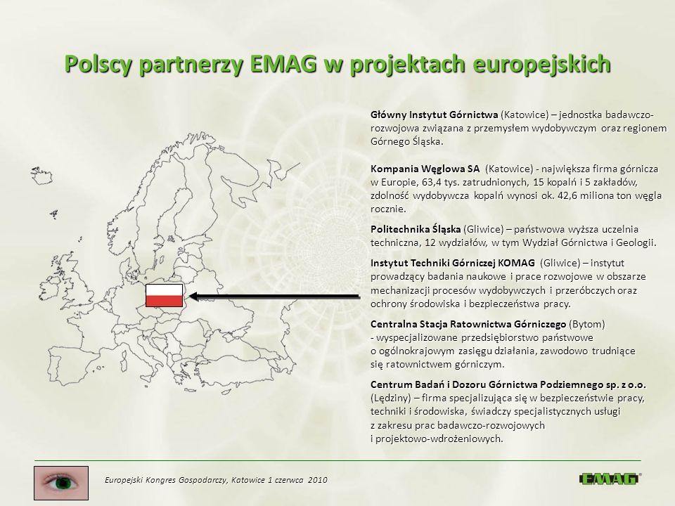 Europejski Kongres Gospodarczy, Katowice 1 czerwca 2010 Polscy partnerzy EMAG w projektach europejskich Główny Instytut Górnictwa (Katowice) – jednost