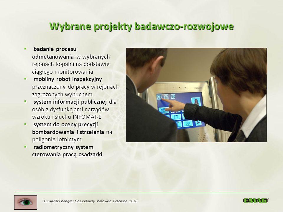 Europejski Kongres Gospodarczy, Katowice 1 czerwca 2010 Wybrane projekty badawczo-rozwojowe badanie procesu odmetanowania w wybranych rejonach kopalni