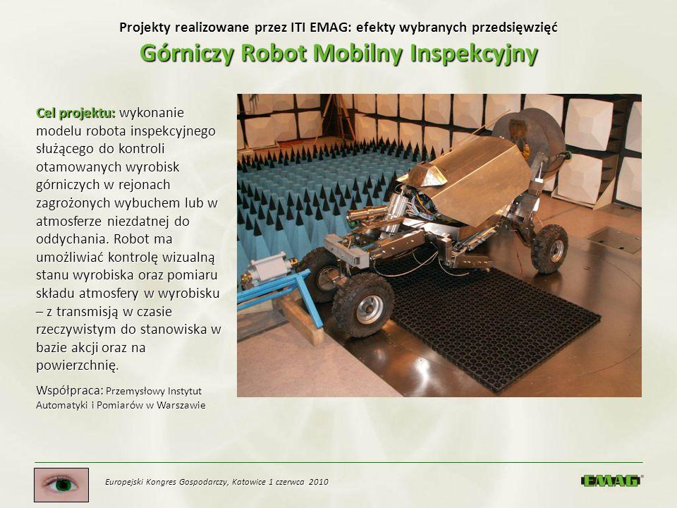 Europejski Kongres Gospodarczy, Katowice 1 czerwca 2010 Projekty realizowane przez ITI EMAG: efekty wybranych przedsięwzięć Górniczy Robot Mobilny Ins