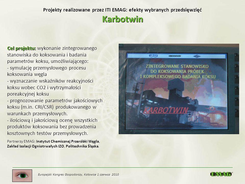 Europejski Kongres Gospodarczy, Katowice 1 czerwca 2010 Projekty realizowane przez ITI EMAG: efekty wybranych przedsięwzięć Karbotwin Cel projektu: wy