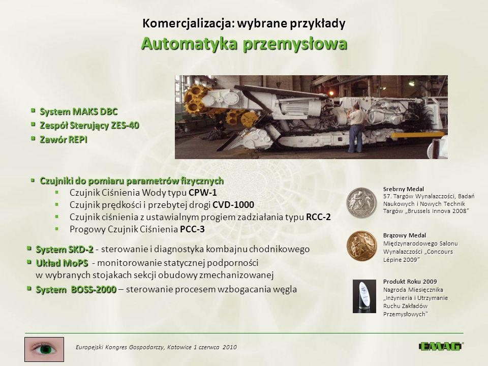 Europejski Kongres Gospodarczy, Katowice 1 czerwca 2010 Komercjalizacja: wybrane przykłady Automatyka przemysłowa Czujniki do pomiaru parametrów fizyc