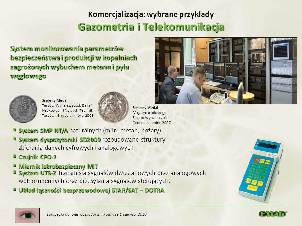 Europejski Kongres Gospodarczy, Katowice 1 czerwca 2010 Komercjalizacja: wybrane przykłady Gazometria i Telekomunikacja Srebrny Medal Międzynarodowego