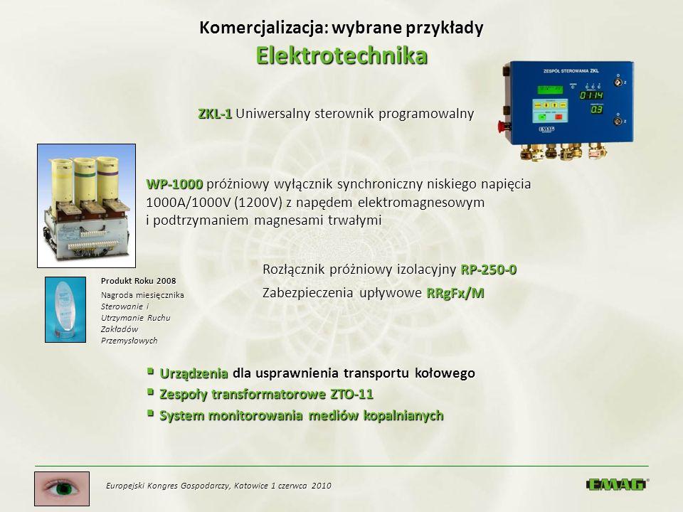 Europejski Kongres Gospodarczy, Katowice 1 czerwca 2010 Komercjalizacja: wybrane przykłady Elektrotechnika ZKL-1 Uniwersalny sterownik programowalny W
