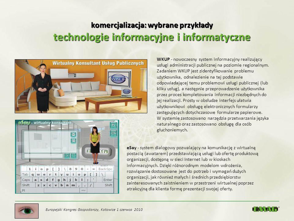komercjalizacja: wybrane przykłady technologie informacyjne i informatyczne eSay - system dialogowy pozwalający na komunikację z wirtualną postacią (a