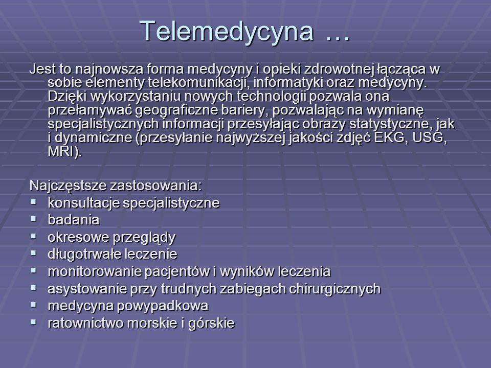 Projekty telemedyczne w Polsce - odnośniki internetowe: Zakład Bioinformatyki i Telemedycyny Uniwersytetu Jagiellońskiego http://www.bit.cm-uj.krakow.pl/ Zakład Bioinformatyki i Telemedycyny Uniwersytetu Jagiellońskiego http://www.bit.cm-uj.krakow.pl/http://www.bit.cm-uj.krakow.pl/ Katerda Patomorfologii Akademii Medycznej w Poznaniu http://ampat.amu.edu.pl Katerda Patomorfologii Akademii Medycznej w Poznaniu http://ampat.amu.edu.pl http://ampat.amu.edu.pl Klinika Kardiologii II Wydział Lekarski AM http://www.rutel.org.pl/kielce/sonta.html#osrodek Klinika Kardiologii II Wydział Lekarski AM http://www.rutel.org.pl/kielce/sonta.html#osrodek http://www.rutel.org.pl/kielce/sonta.html#osrodek Krakowskie Centrum Telemedycyny i Medycyny Zapobiegawczej http://www.telemedycyna.krakow.pl/ Krakowskie Centrum Telemedycyny i Medycyny Zapobiegawczej http://www.telemedycyna.krakow.pl/http://www.telemedycyna.krakow.pl/ Polskie Towarzystwo Kardiologiczne http://www.ptkardio.pl Polskie Towarzystwo Kardiologiczne http://www.ptkardio.plhttp://www.ptkardio.pl Śląska Akademia Medyczna http://www.slam.katowice.pl/page.php?6 Śląska Akademia Medyczna http://www.slam.katowice.pl/page.php?6 http://www.slam.katowice.pl/page.php?6 TELEMED http://www.telemed.org.pl/ TELEMED http://www.telemed.org.pl/http://www.telemed.org.pl/ Teleradiologiczny projekt w Lublinie http://rtg.specjal.szpital.lublin.pl/ Teleradiologiczny projekt w Lublinie http://rtg.specjal.szpital.lublin.pl/ http://rtg.specjal.szpital.lublin.pl/ Zakład Bioinformatyki i Telemedycyny CMUJ http://bit.cm- uj.krakow.pl Zakład Bioinformatyki i Telemedycyny CMUJ http://bit.cm- uj.krakow.plhttp://bit.cm- uj.krakow.plhttp://bit.cm- uj.krakow.pl