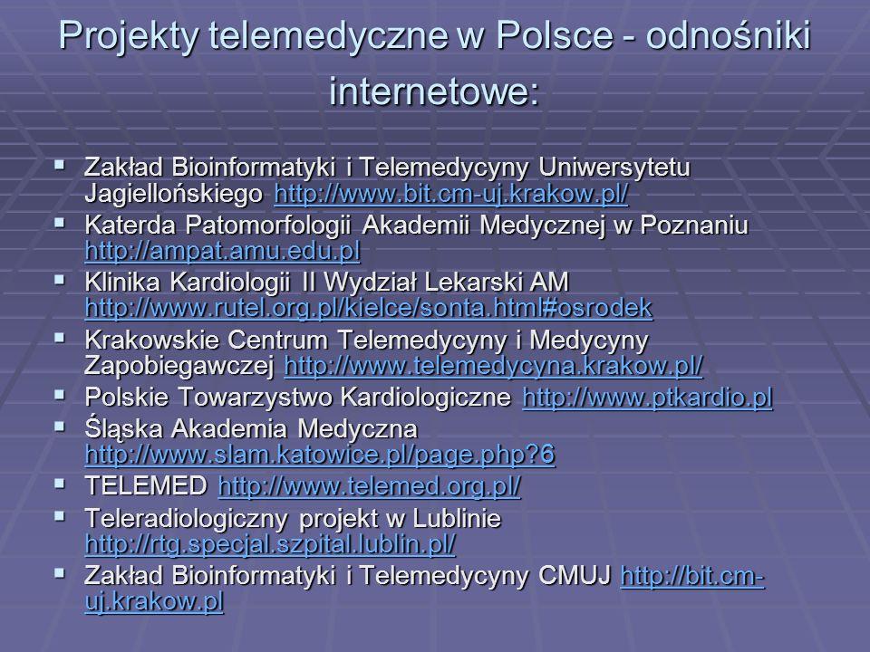 Projekty telemedyczne w Polsce - odnośniki internetowe: Zakład Bioinformatyki i Telemedycyny Uniwersytetu Jagiellońskiego http://www.bit.cm-uj.krakow.pl/ Zakład Bioinformatyki i Telemedycyny Uniwersytetu Jagiellońskiego http://www.bit.cm-uj.krakow.pl/http://www.bit.cm-uj.krakow.pl/ Katerda Patomorfologii Akademii Medycznej w Poznaniu http://ampat.amu.edu.pl Katerda Patomorfologii Akademii Medycznej w Poznaniu http://ampat.amu.edu.pl http://ampat.amu.edu.pl Klinika Kardiologii II Wydział Lekarski AM http://www.rutel.org.pl/kielce/sonta.html#osrodek Klinika Kardiologii II Wydział Lekarski AM http://www.rutel.org.pl/kielce/sonta.html#osrodek http://www.rutel.org.pl/kielce/sonta.html#osrodek Krakowskie Centrum Telemedycyny i Medycyny Zapobiegawczej http://www.telemedycyna.krakow.pl/ Krakowskie Centrum Telemedycyny i Medycyny Zapobiegawczej http://www.telemedycyna.krakow.pl/http://www.telemedycyna.krakow.pl/ Polskie Towarzystwo Kardiologiczne http://www.ptkardio.pl Polskie Towarzystwo Kardiologiczne http://www.ptkardio.plhttp://www.ptkardio.pl Śląska Akademia Medyczna http://www.slam.katowice.pl/page.php 6 Śląska Akademia Medyczna http://www.slam.katowice.pl/page.php 6 http://www.slam.katowice.pl/page.php 6 TELEMED http://www.telemed.org.pl/ TELEMED http://www.telemed.org.pl/http://www.telemed.org.pl/ Teleradiologiczny projekt w Lublinie http://rtg.specjal.szpital.lublin.pl/ Teleradiologiczny projekt w Lublinie http://rtg.specjal.szpital.lublin.pl/ http://rtg.specjal.szpital.lublin.pl/ Zakład Bioinformatyki i Telemedycyny CMUJ http://bit.cm- uj.krakow.pl Zakład Bioinformatyki i Telemedycyny CMUJ http://bit.cm- uj.krakow.plhttp://bit.cm- uj.krakow.plhttp://bit.cm- uj.krakow.pl