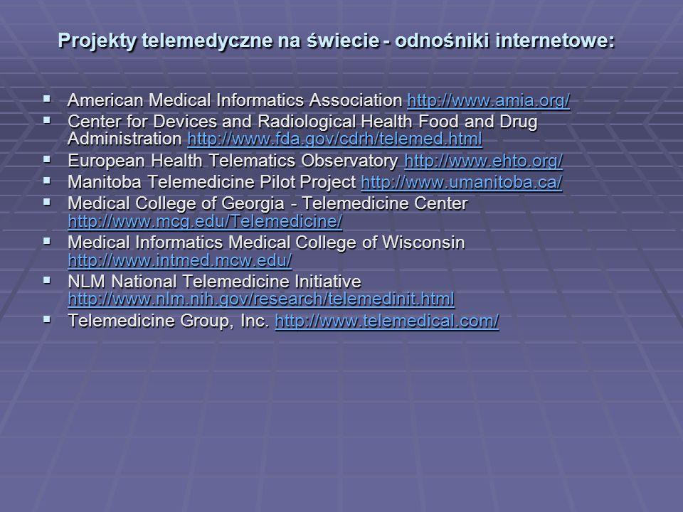 The American Telemedicine Association http://www.atmeda.org/ The American Telemedicine Association http://www.atmeda.org/http://www.atmeda.org/ The Center for Telemedicine Law http://www.ctel.org/ The Center for Telemedicine Law http://www.ctel.org/http://www.ctel.org/ The Federal Telemedicine Gateway http://www.tmgateway.org/ The Federal Telemedicine Gateway http://www.tmgateway.org/http://www.tmgateway.org/ The International Society for Telemedicine ISFT http://www.isft.org/ The International Society for Telemedicine ISFT http://www.isft.org/ http://www.isft.org/ http://www.isft.org/ The PCASSO project http://medicine.ucsd.edu/pcasso/ The PCASSO project http://medicine.ucsd.edu/pcasso/http://medicine.ucsd.edu/pcasso/ The Telemedicine Research Center http://trc.telemed.org/ The Telemedicine Research Center http://trc.telemed.org/http://trc.telemed.org/ University of Arizona http://www.telemedicine.arizona.edu/ University of Arizona http://www.telemedicine.arizona.edu/http://www.telemedicine.arizona.edu/ University of California http://telehealth.ucdavis.edu/ University of California http://telehealth.ucdavis.edu/http://telehealth.ucdavis.edu/ University of New South Wales http://www.chi.unsw.edu.au/ University of New South Wales http://www.chi.unsw.edu.au/http://www.chi.unsw.edu.au/ University of Virginia http://www.telemed.virginia.edu/ University of Virginia http://www.telemed.virginia.edu/http://www.telemed.virginia.edu/ University of Washington http://icsl.ee.washington.edu/projects/emedicine/ University of Washington http://icsl.ee.washington.edu/projects/emedicine/http://icsl.ee.washington.edu/projects/emedicine/ Western Australia Telecentre Network http://www.telecentres.wa.gov.au/ Western Australia Telecentre Network http://www.telecentres.wa.gov.au/http://www.telecentres.wa.gov.au/ Yale University Telemedicine Services http://info.med.yale.edu/telmed/ Telemedicine in Russia http://www.telemed.ru/ Yale University Telemedicine Services http://info.med.yale.e