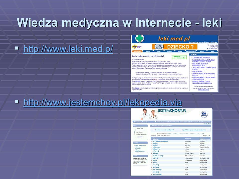 Wiedza medyczna w Internecie - leki http://www.leki.med.p/ http://www.leki.med.p/ http://www.leki.med.p/ http://www.jestemchoy.pl/lekopedia.via http://www.jestemchoy.pl/lekopedia.via http://www.jestemchoy.pl/lekopedia.via