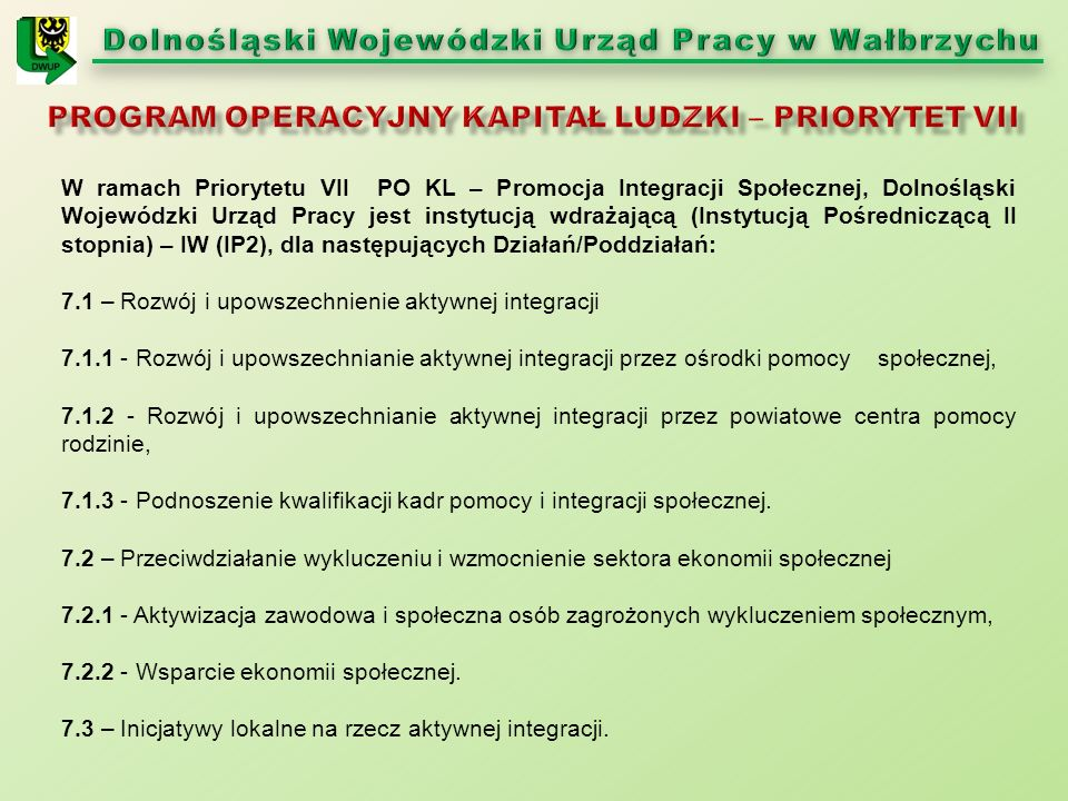 W ramach Priorytetu VII PO KL – Promocja Integracji Społecznej, Dolnośląski Wojewódzki Urząd Pracy jest instytucją wdrażającą (Instytucją Pośredniczącą II stopnia) – IW (IP2), dla następujących Działań/Poddziałań: 7.1 – Rozwój i upowszechnienie aktywnej integracji 7.1.1 - Rozwój i upowszechnianie aktywnej integracji przez ośrodki pomocy społecznej, 7.1.2 - Rozwój i upowszechnianie aktywnej integracji przez powiatowe centra pomocy rodzinie, 7.1.3 - Podnoszenie kwalifikacji kadr pomocy i integracji społecznej.