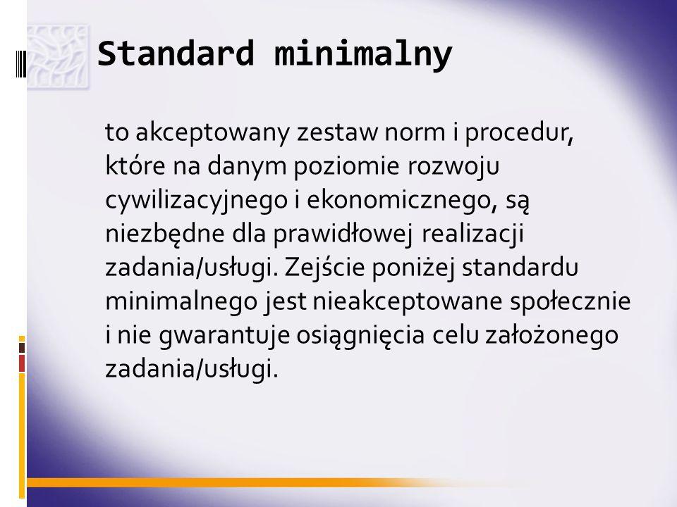 Standard minimalny to akceptowany zestaw norm i procedur, które na danym poziomie rozwoju cywilizacyjnego i ekonomicznego, są niezbędne dla prawidłowe