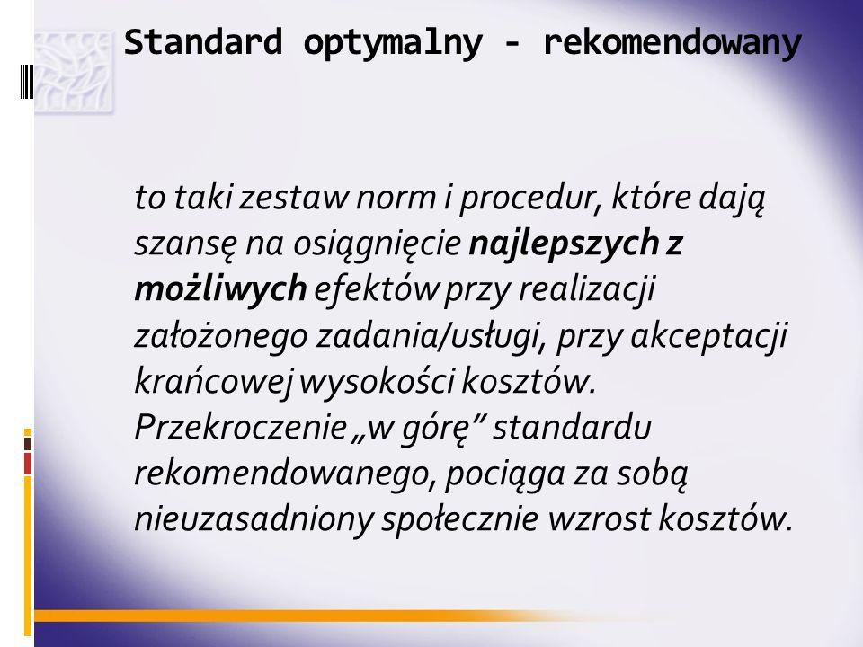 Standard optymalny - rekomendowany to taki zestaw norm i procedur, które dają szansę na osiągnięcie najlepszych z możliwych efektów przy realizacji za