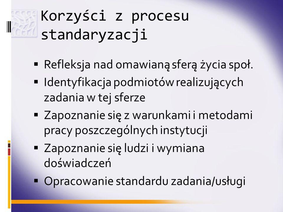 Korzyści z procesu standaryzacji Refleksja nad omawianą sferą życia społ. Identyfikacja podmiotów realizujących zadania w tej sferze Zapoznanie się z