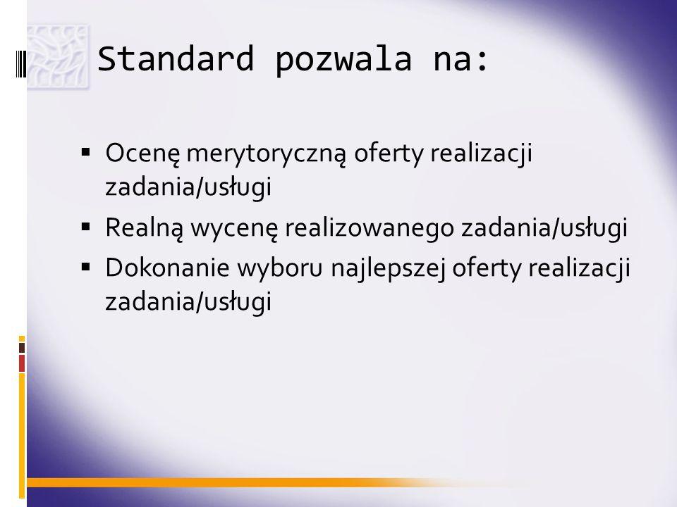 Standard pozwala na: Ocenę merytoryczną oferty realizacji zadania/usługi Realną wycenę realizowanego zadania/usługi Dokonanie wyboru najlepszej oferty