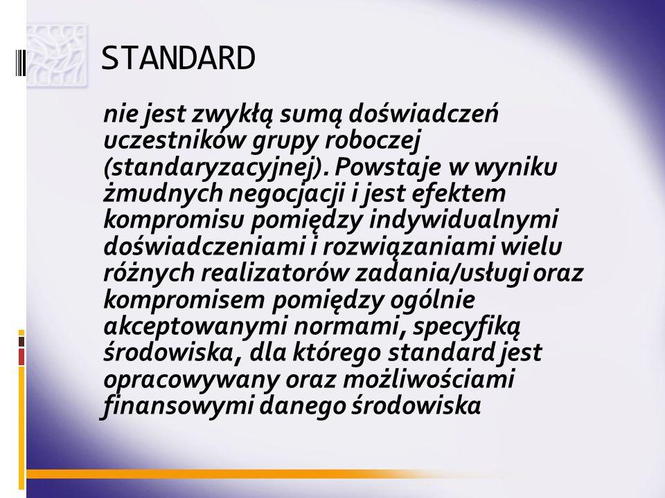 STANDARD nie jest zwykłą sumą doświadczeń uczestników grupy roboczej (standaryzacyjnej). Powstaje w wyniku żmudnych negocjacji i jest efektem kompromi