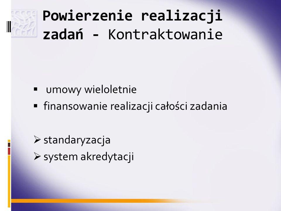 Powierzenie realizacji zadań - Kontraktowanie umowy wieloletnie finansowanie realizacji całości zadania standaryzacja system akredytacji