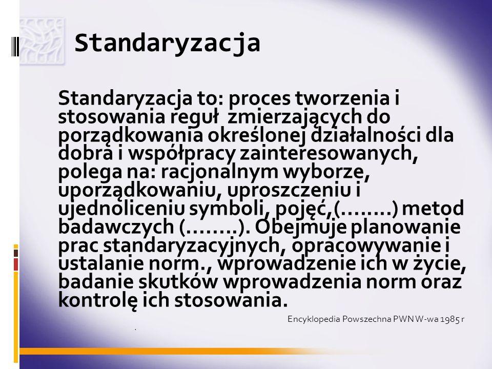 Standaryzacja Standaryzacja to: proces tworzenia i stosowania reguł zmierzających do porządkowania określonej działalności dla dobra i współpracy zain
