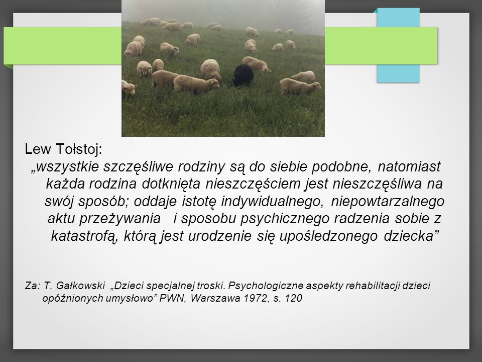 Lew Tołstoj: wszystkie szczęśliwe rodziny są do siebie podobne, natomiast każda rodzina dotknięta nieszczęściem jest nieszczęśliwa na swój sposób; odd