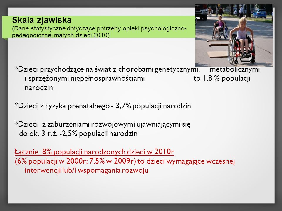Skala zjawiska (Dane statystyczne dotyczące potrzeby opieki psychologiczno- pedagogicznej małych dzieci 2010) *Dzieci przychodzące na świat z chorobam