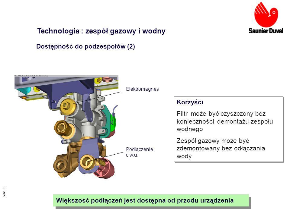 Folie 10 Elektromagnes Korzyści Filtr może być czyszczony bez konieczności demontażu zespołu wodnego Zespół gazowy może być zdemontowany bez odłączani