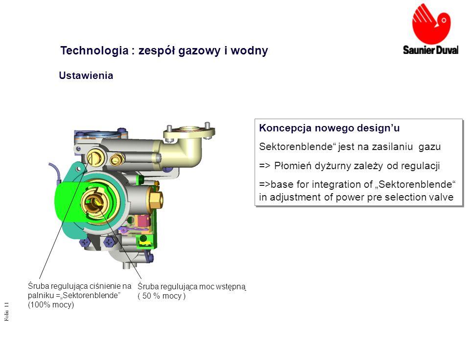 Folie 11 Śruba regulująca ciśnienie na palniku =Sektorenblende (100% mocy) Koncepcja nowego designu Sektorenblende jest na zasilaniu gazu => Płomień d