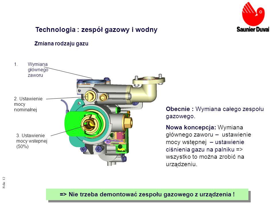 Folie 12 Obecnie : Wymiana całego zespołu gazowego. Nowa koncepcja: Wymiana głównego zaworu – ustawienie mocy wstępnej – ustawienie ciśnienia gazu na