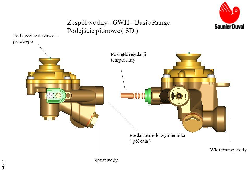 Folie 15 Zespół wodny - GWH - Basic Range Podejście pionowe ( SD ) Podłączenie do zaworu gazowego Podłączenie do wymiennika ( pół cala ) Spust wody Po