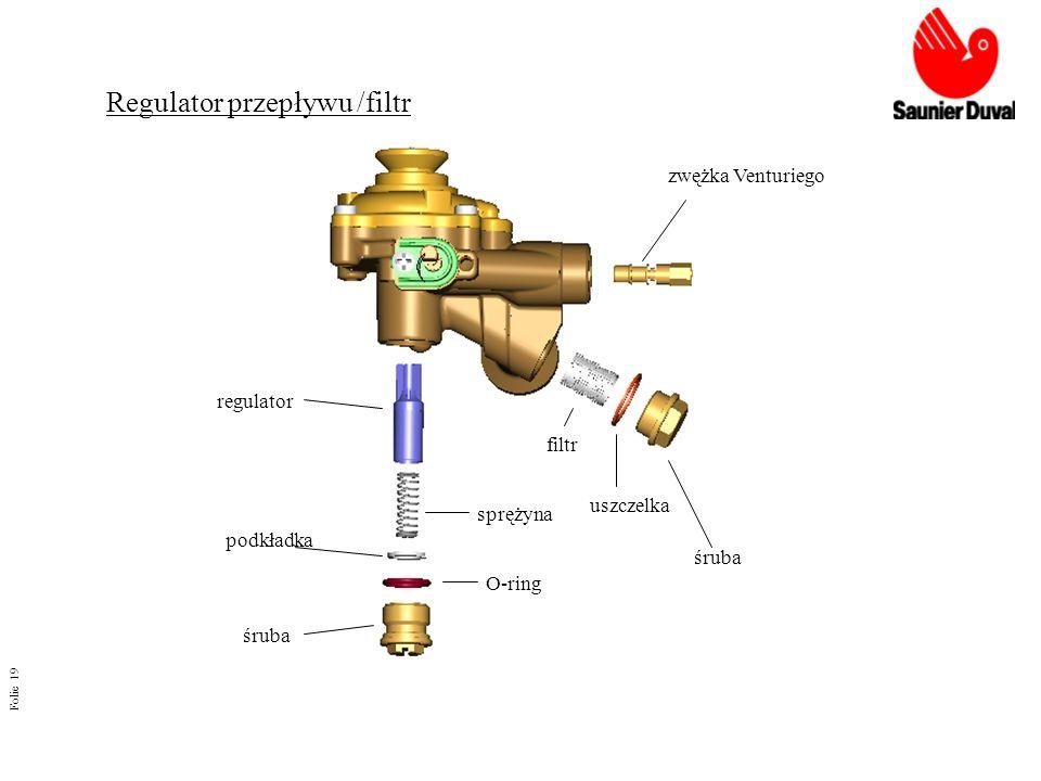 Folie 19 Regulator przepływu /filtr regulator sprężyna podkładka śruba O-ring filtr uszczelka śruba zwężka Venturiego