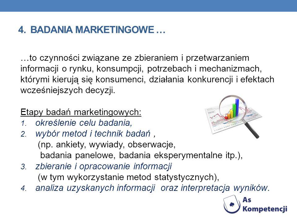 4. BADANIA MARKETINGOWE … …to czynności związane ze zbieraniem i przetwarzaniem informacji o rynku, konsumpcji, potrzebach i mechanizmach, którymi kie