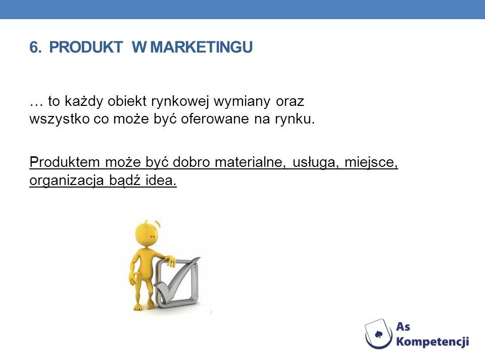 6. PRODUKT W MARKETINGU … to każdy obiekt rynkowej wymiany oraz wszystko co może być oferowane na rynku. Produktem może być dobro materialne, usługa,