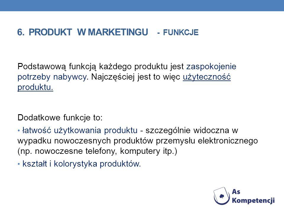 Podstawową funkcją każdego produktu jest zaspokojenie potrzeby nabywcy. Najczęściej jest to więc użyteczność produktu. Dodatkowe funkcje to: łatwość u