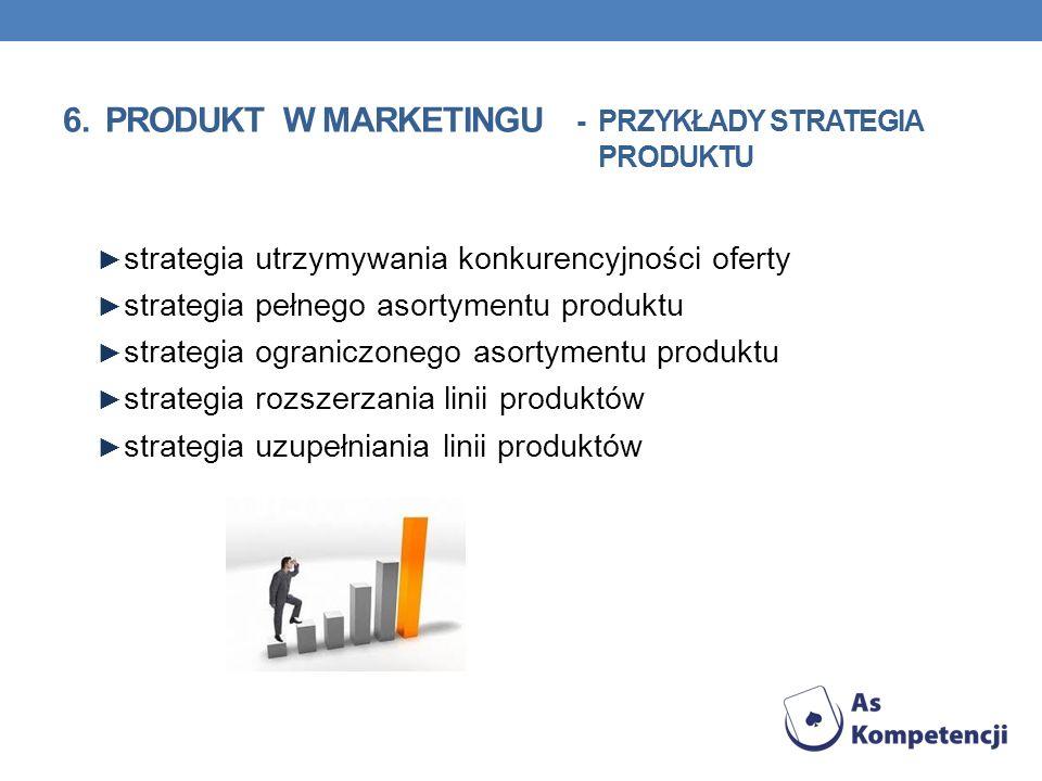 strategia utrzymywania konkurencyjności oferty strategia pełnego asortymentu produktu strategia ograniczonego asortymentu produktu strategia rozszerza
