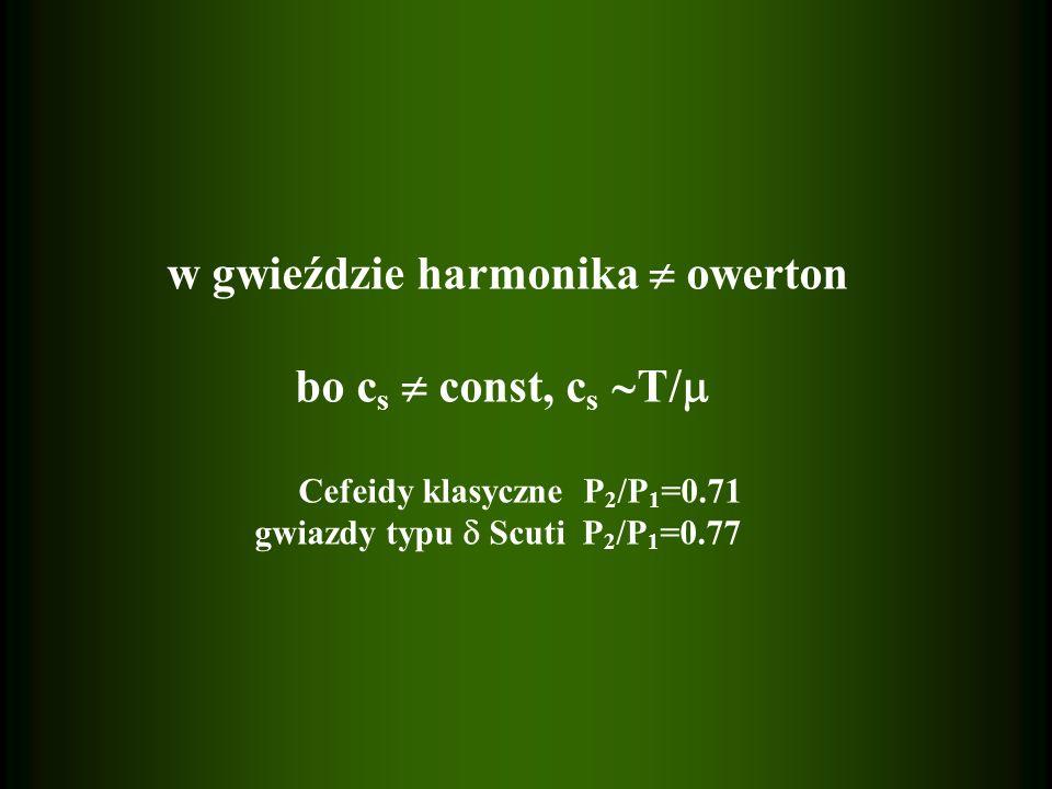 w gwieździe harmonika owerton bo c s const, c s T/ Cefeidy klasyczne P 2 /P 1 =0.71 gwiazdy typu Scuti P 2 /P 1 =0.77