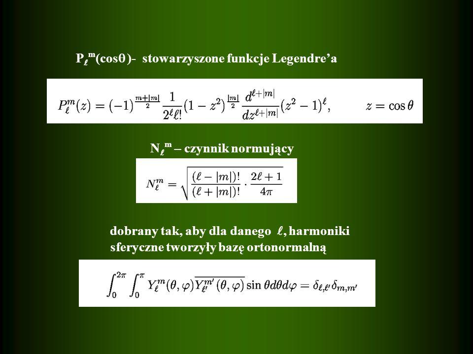 N m – czynnik normujący dobrany tak, aby dla danego, harmoniki sferyczne tworzyły bazę ortonormalną P m (cos )- stowarzyszone funkcje Legendrea