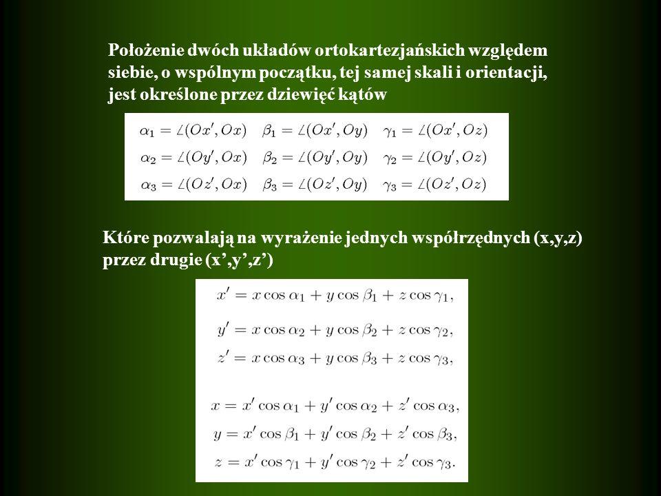Położenie dwóch układów ortokartezjańskich względem siebie, o wspólnym początku, tej samej skali i orientacji, jest określone przez dziewięć kątów Które pozwalają na wyrażenie jednych współrzędnych (x,y,z) przez drugie (x,y,z)